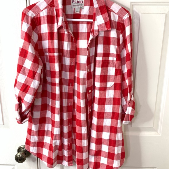 Old Navy Tops - OLD NAVY RED/WHITE PLAID FLANNEL SHIRT SIZE LARGE